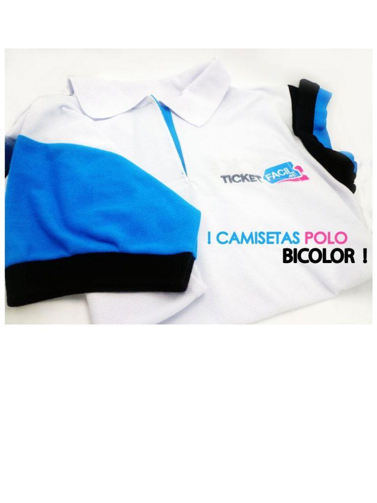 Camiseta polo bicolor bordada
