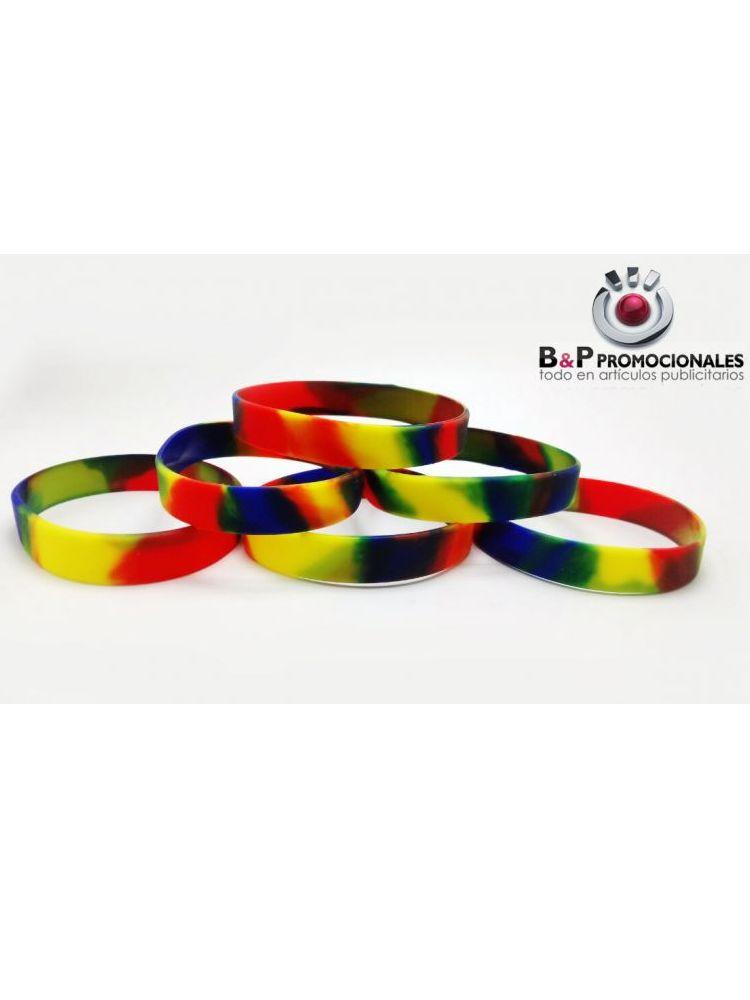 Pulsera de silicon tricolor
